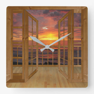 sunrise viewed through french doors square wall clock