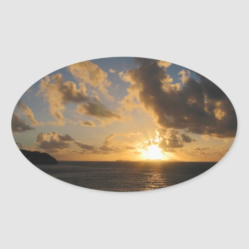 Sunrise With Clouds St. Martin Oval Stickers