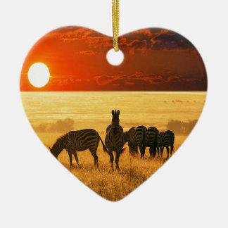 Sunrise Zebras Ceramic Ornament