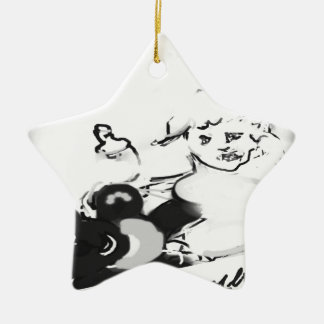 sunriseteddyhorizonsignedblkandwhit ceramic star ornament