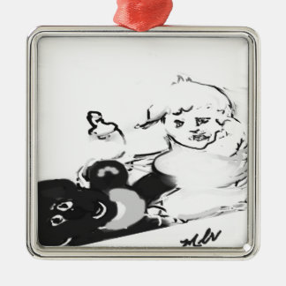 sunriseteddyhorizonsignedblkandwhit Silver-Colored square ornament