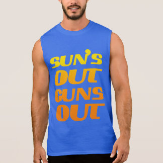 SUN'S OUT GUNS OUT FITNESS AND GYM SLEEVELESS T-SHIRTS