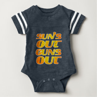 Sun's Out Guns Out Fun fitness and gym Baby Bodysuit