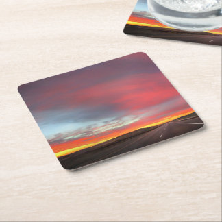 Sunset 4 square paper coaster