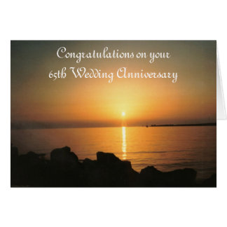 Sunset 65th Wedding Anniversary Card