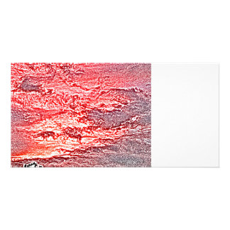 sunset abstract red pink colored background custom photo card