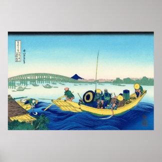 Sunset Across the Ryogoku, by Katsushika Hokusai Poster
