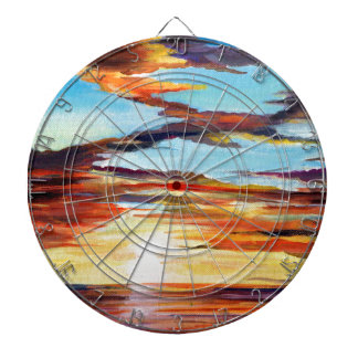Sunset Acrylic Painting Dartboard