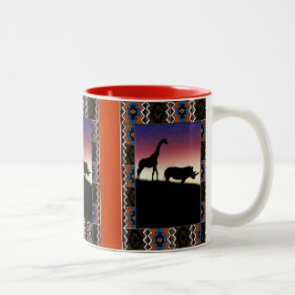 Sunset, african animals Two-Tone coffee mug