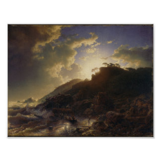 Sunset after a Storm on the Coast of Sicily , Andr Poster