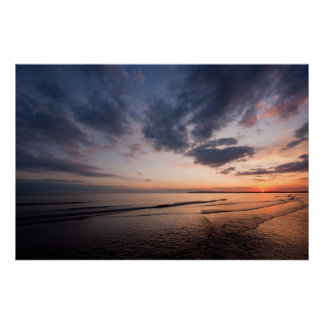 Sunset and amazing sky over Camber Sands England Poster