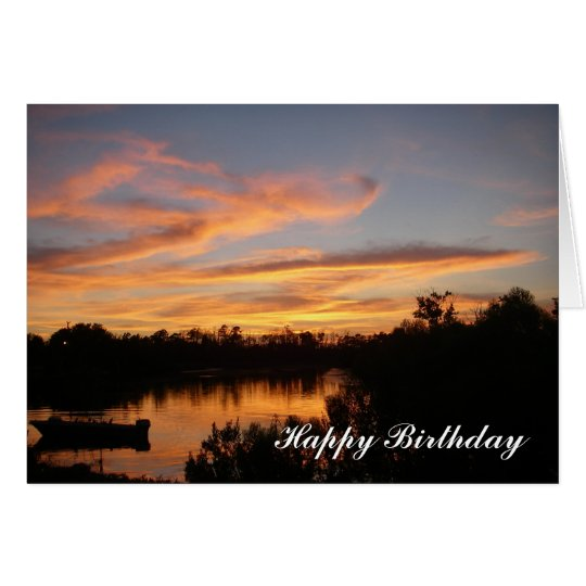 Sunset And Boat Happy Birthday Greeting Card