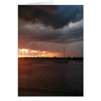 Sunset and Boats on the Water Picture Card