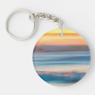 Sunset and Ocean   Cape Disappointment State Park Keychain