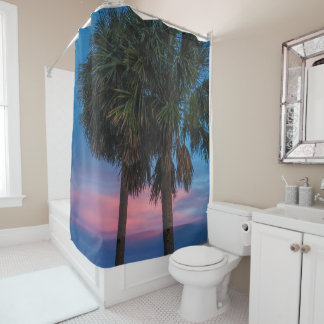 Sunset and Palm Trees Shower Curtain