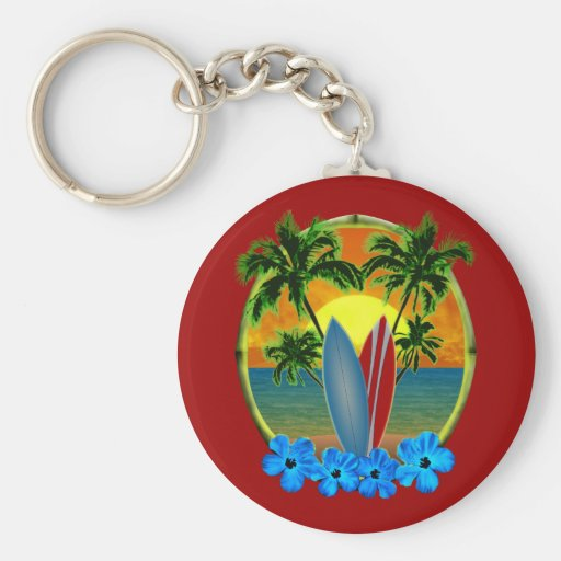 Sunset And Surfboards Key Chain