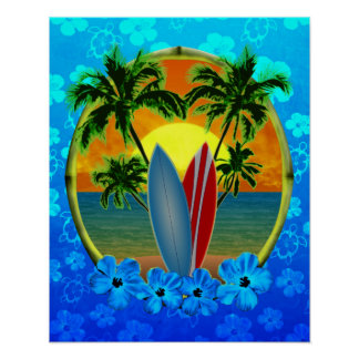 Sunset And Surfboards Poster