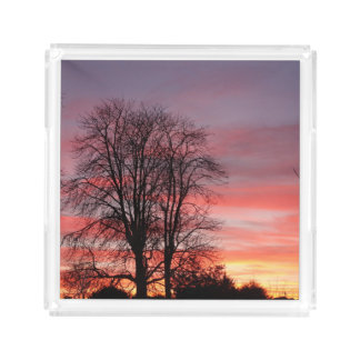 Sunset and Tree Silhouette Tray