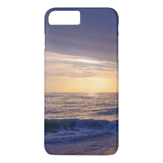 Sunset and waves on beach, purple, orange iPhone 7 plus case