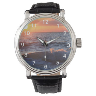 Sunset and Waves Wristwatch