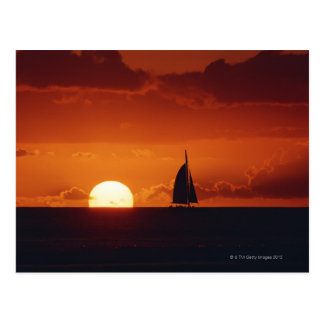 Sunset and Yacht 2 Postcard