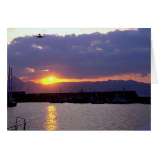 Sunset approach over Crete Harbor Card