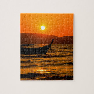 Sunset at Ao Nang beach Jigsaw Puzzle