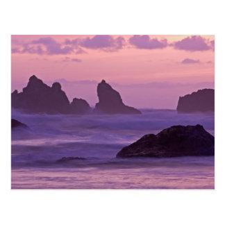 Sunset at Bandon Beach Sea Stacks. Postcard