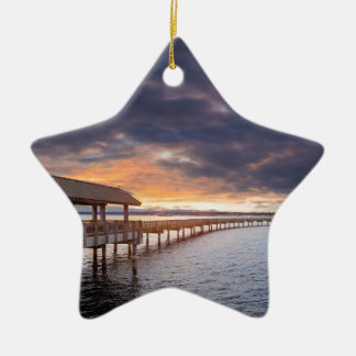 Sunset at Boulevard Park in Bellingham Washington Ceramic Ornament