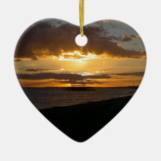 Sunset At Brighton Beach Ceramic Heart Ornament
