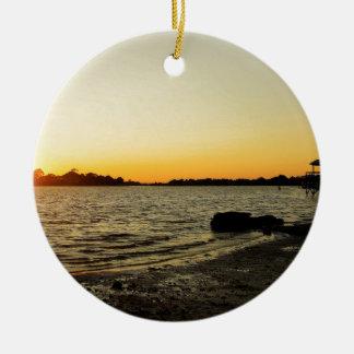 Sunset at Cedar Key Round Ceramic Ornament