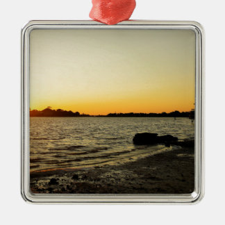 Sunset at Cedar Key Silver-Colored Square Ornament