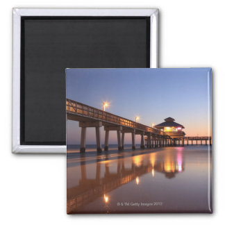 Sunset at Fishing Pier, Fort Myers Beach, Magnet