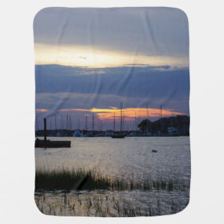 Sunset At Folly Harbor Baby Blanket