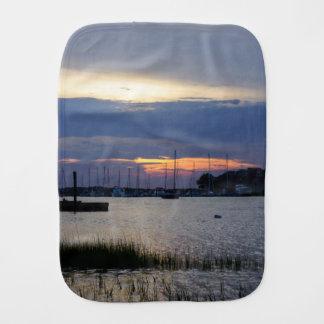 Sunset At Folly Harbor Burp Cloth