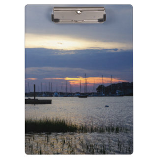 Sunset At Folly Harbor Clipboard