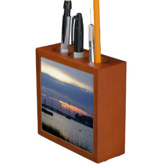 Sunset At Folly Harbor Desk Organizer