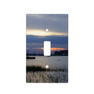 Sunset At Folly Harbor Light Switch Cover