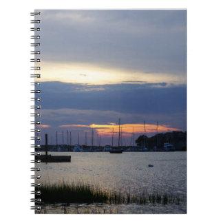 Sunset At Folly Harbor Notebook