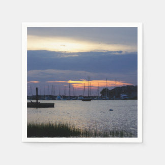 Sunset At Folly Harbor Paper Napkins