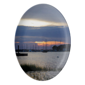 Sunset At Folly Harbor Porcelain Serving Platter
