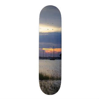 Sunset At Folly Harbor Skateboard