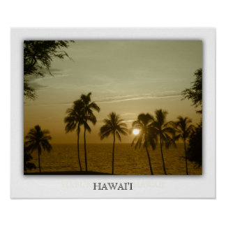 Sunset at hapuna beach, Hawaii Poster