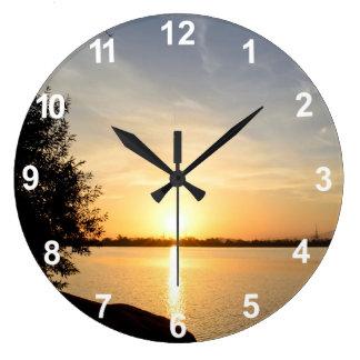 Sunset at lake large clock