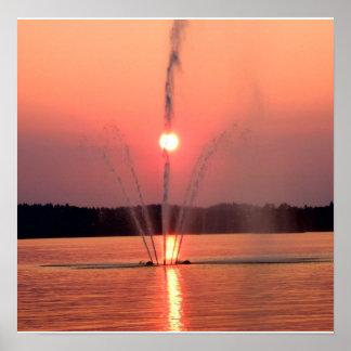 Sunset at Lake Lohja, Finland Poster