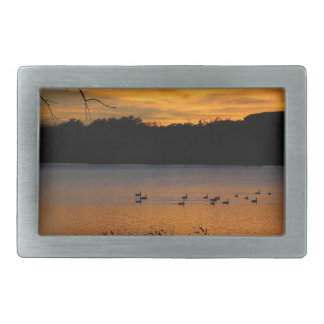 Sunset at Lake Scott State Park - Geese on Lake Belt Buckle