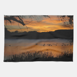 Sunset at Lake Scott State Park - Geese on Lake Hand Towels