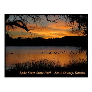 Sunset at Lake Scott State Park - Geese on Lake Postcard