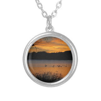 Sunset at Lake Scott State Park - Geese on Lake Silver Plated Necklace