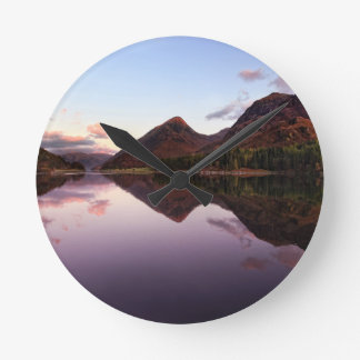 Sunset at Loch Leven, Scotland Round Clock